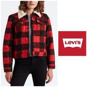 NWT, Levi's, Plaid Faux Sherpa Collar Jacket